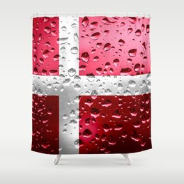 Flag of Denmark - Raindrops Shower Curtain