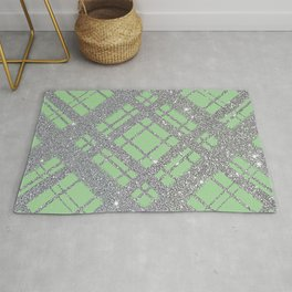 Silver Glitter Plaid on Lime Green Graphic Design Pattern Rug