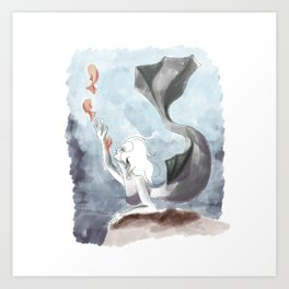 Mermaid with fishes Art Print