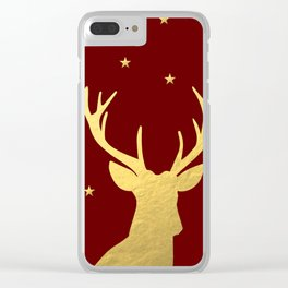 Gold Xmas Deer Clear iPhone Case