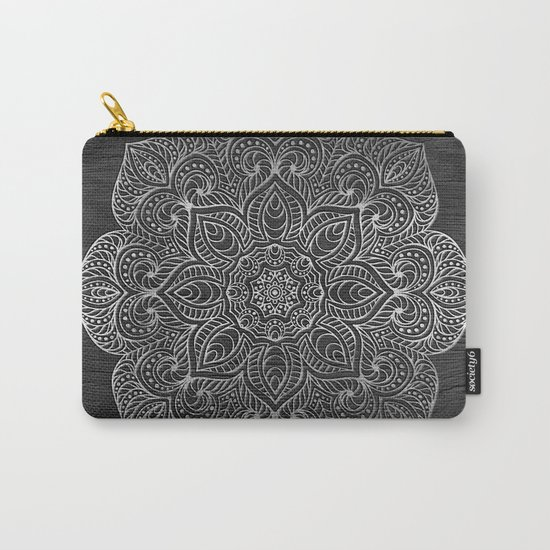 Wood Mandala - Silver Carry-All Pouch