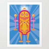 Pinball Bot Art Print