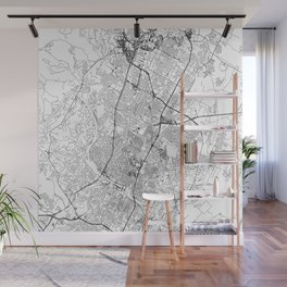 Austin White Map Wall Mural