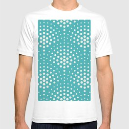 Alabaster White Solid Color Polka Dot Scallop Pattern on Aqua Teal Turquoise - Aquarium SW 6767 T-shirt