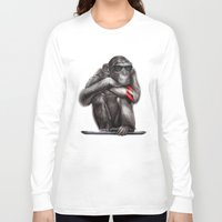 ape Long Sleeve T-shirts featuring Genius Ape by beart24