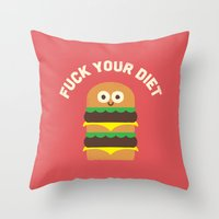 fleetwood mac Throw Pillows featuring Discounting Calories by David Olenick