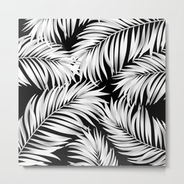 Palm Tree Fronds White on Black Hawaii Tropical Décor Metal Print