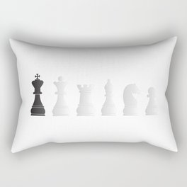 All white one black chess pieces Rectangular Pillow