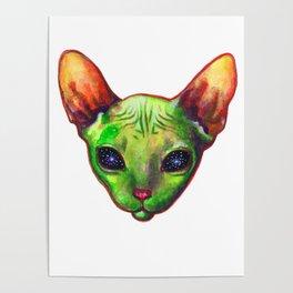 Alien sphynx cat Poster
