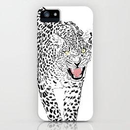 Stylish Black & Pink Leopard Animal White Design iPhone Case