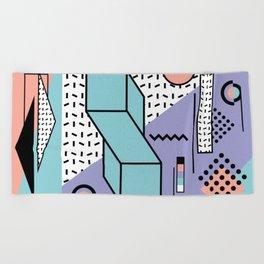Memphis Pattern - 80s Retro - Pastel Colors Beach Towel