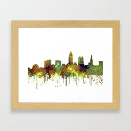 Cleveland, Ohio Skyline SG - Safari Buff Framed Art Print