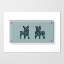 Patches French Bulldog Twins Canvas Print