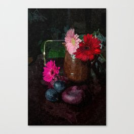 Still life with figs, onions and gerberas Canvas Print