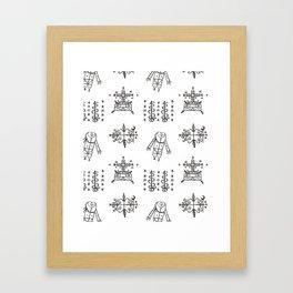 Papa Legba + Baron Samedi + Gran Bwa + Damballah-Wedo Voodoo Veve Symbols in White Framed Art Print