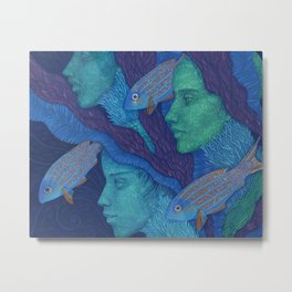 Waiting, Mermaids Fish, Undewater Surreal Fantasy Metal Print