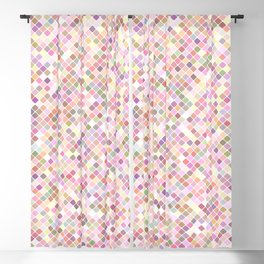 Happy Pastel Square Pattern Blackout Curtain