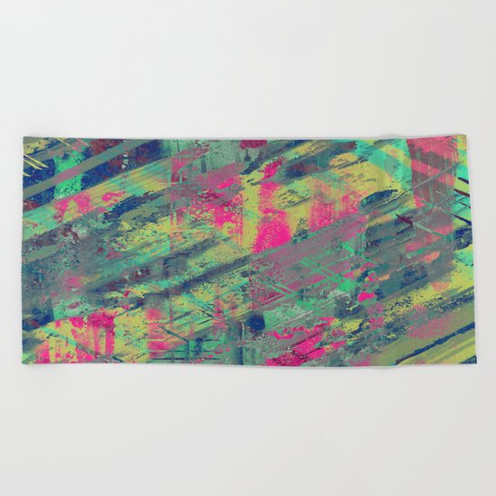 Colour Relaxation - Abstract, textured oil painting Beach Towel