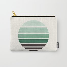 Deep Green Mid Century Modern Minimalist Circle Round Photo Staggered Sunset Geometric Stripe Design Carry-All Pouch