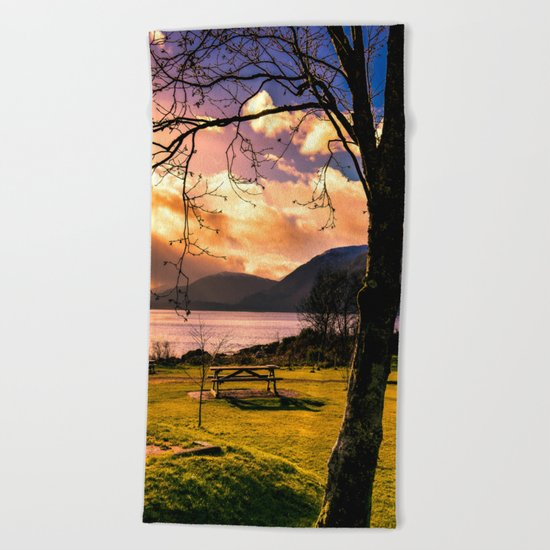 Soft Evening in the Lake  Beach Towel