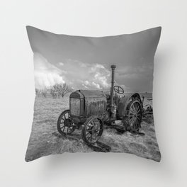 Rustic Tractor - Old Tractor in Black and White Throw Pillow