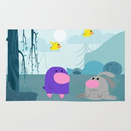 The mole and the rabbit met at noon. Rug