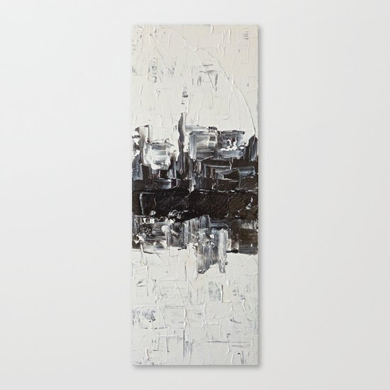 Flatline - black & white abstract painting Canvas Print