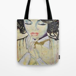 Colourful dripping ink portrait Tote Bag