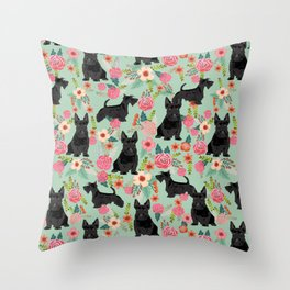 Scottish Terrier florals pattern dog breed dog art pet portraits pet friendly scottie gifts Throw Pillow