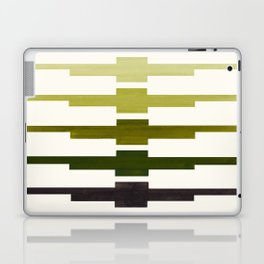 Mid Century Minimalist Ancient Aztec Inca Geometric Pattern Watercolor Olive Green Colorful Gouache Laptop & iPad Skin