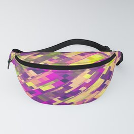 geometric square pixel pattern abstract background in pink purple green Fanny Pack
