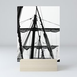 Black And White Ship Mini Art Print
