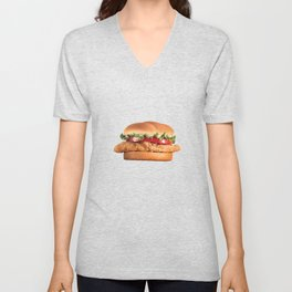 Chicken Sandwich Lover Funny Fast Food Burger Gift Design Unisex V-Neck