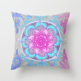Pink, Purple and Turquoise Super Boho Doodle Medallions Throw Pillow