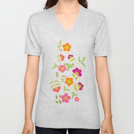 Bright Rounded Flowers on Bed of Pale Green Leaves (pattern) Unisex V-Neck