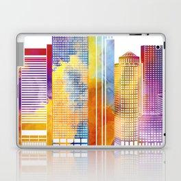 Boston landmarks watercolor poster Laptop & iPad Skin