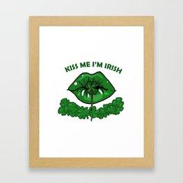St Patricks Day For Women Green Lips Shamrock Gift Framed Art Print