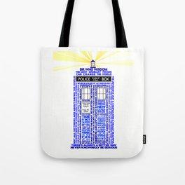 Doctor Who TARDIS Words of Wisdom Tote Bag