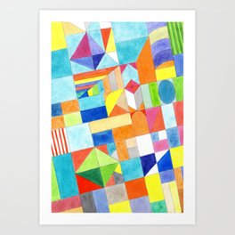 Playful Colorful Architectural Pattern Art Print