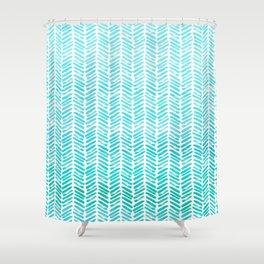 Handpainted Chevron pattern-small-light green and aqua teal Shower Curtain