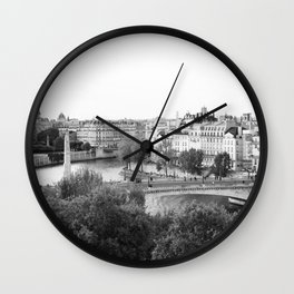 Paris in Black and White, Notre Dame and Les Iles Wall Clock
