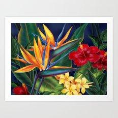 Tropical Paradise Hawaiian Floral Illustration Art Print
