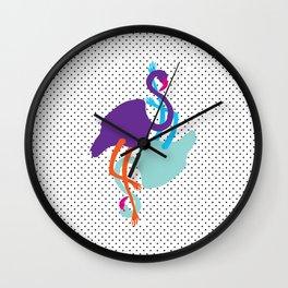 Animal Mardi Gras (Flamingo Mauve Turquoise) Wall Clock