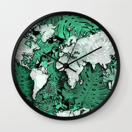 world map tropical leaves 3 Wall Clock