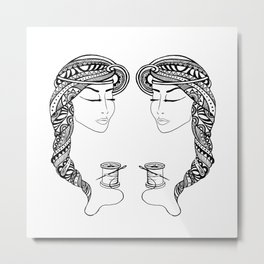 Reep What You Sew | Black and White Illustration Metal Print