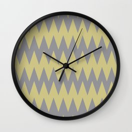 Yellow-Green and Grey Zigzag Pattern Pantone 2021 Color of the Year Ultimate Gray 17-5104 Wall Clock