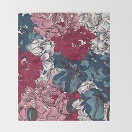 Beautiful floral design with hand drawn petunias Throw Blanket