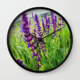 sage salvia meadow Wall Clock