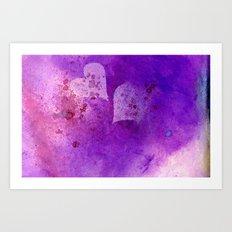 Spatters on my purple hearts Art Print