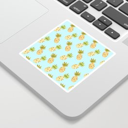 Blue Tropical Pineapple Pattern Sticker